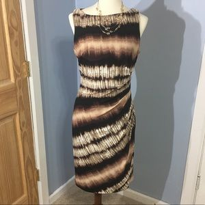 Evan Picone Brown and Ivory Cocktail Dress